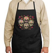 Gothic Sugar Skulls New Apron Events Cook Bar Day of the Dead - $19.99