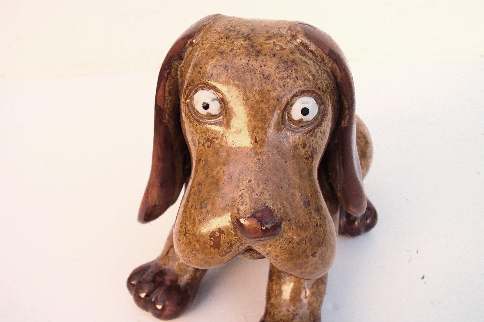 Vintage Porcelain Bloodhound Puppy Dog Statue Sculpture Figurine Figure