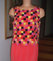 NWT Via Seta Cantaloupe Melon Check Pattern S/L Silk Top Back Buttons Sz... - $49.45