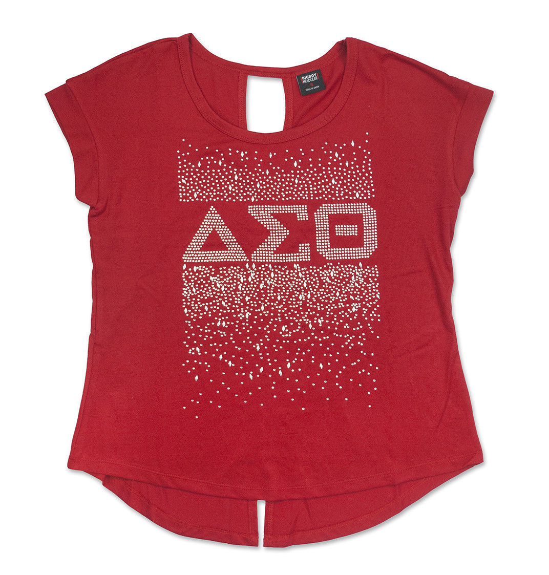 DELTA DIVA SORORITY T-SHIRT DELTA SIGMA 1913 THETA OOO-OOP RED BLING BLOUSE TOP