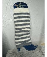 NEW Pair Of Striped Gray White Knitted Boot Cuff Leg Warmers Boot Topper... - $8.59