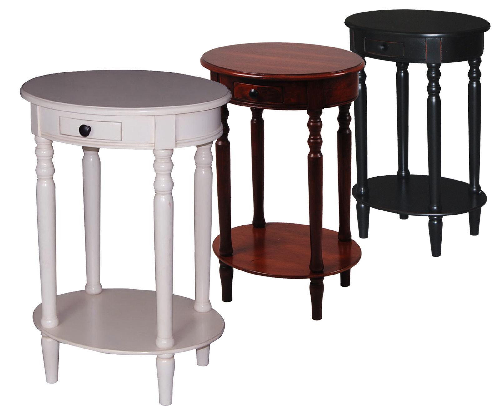 urbanest solid wood oval accent side end table with a drawer and bottom shelf tables. Black Bedroom Furniture Sets. Home Design Ideas