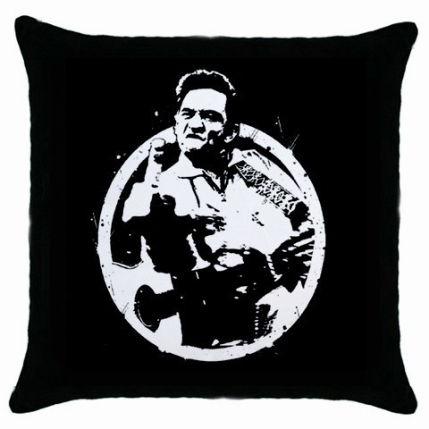 Johnny Cash Giving Finger Black Cushion Cover Throw Pillow Case