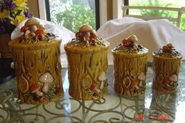 Lefton 1970 Geo. Z. Golden Mushroom Canister Set/4 Woodlands 4353 w Lids... - $45.00
