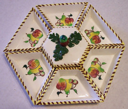 Vintage Chip, Dip or Relish Tray Set Hand Painted Made in Japan Mid Century - $13.34