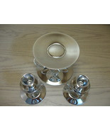 Silver Plate Tone Candle Stick Holders with Cen... - $9.95