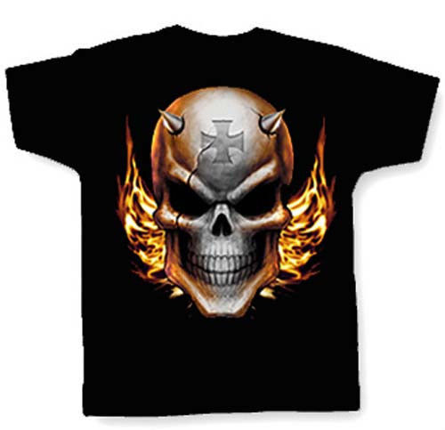 SKULL W/ IRON CROSS & FLAMES T-SHIRT 1%r outlaw biker apparel clothing for sale  USA