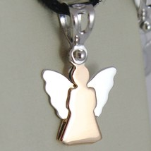 18K White And Rose Gold Pendant With Stylized Guardian Angel Made In Italy 0.71 - $100.89