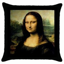 NEW Mona Lisa Da Vinci New Black Cushion Cover Throw Pillow Case-HOT!! - $281,89 MXN