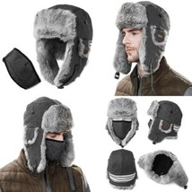 SIGGI 100% Rabbit Fur Earflaps Trapper Hat Wool Blend Russian w/Mask Unisex - $51.65