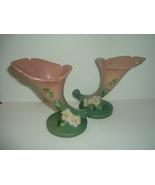 """Pair Roseville Art Pottery White Rose 143-6"""" Cornucopia Vases - $89.99"""