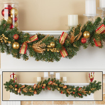Evergreen Holiday Glitter Garland with Red & Gold Accents - $29.66