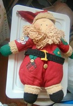 """Plush Santa Maine #1789 Red Great American Fun Corp. 13""""-Patchs Belt Cap-Buttons - $18.80"""