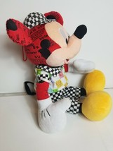 Ultra Rare Racing Mickey Mouse Plush Stuffed Toy Disney Red Checkered 21... - $78.39