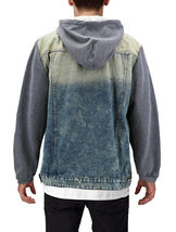 Men's Hooded Button Up Faded Denim With Jersey Sleeves Jean Trucker Jacket image 3