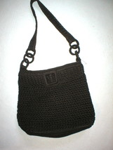 "New Brown Woven Crochet The Sak Purse Handbag Dark Shoulder 12"" 10 X 11 ... - $150.00"