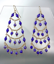 STUNNING Sapphite Blue Crystal Beads Gold Chandelier Dangle Peruvian Earrings B9 - £16.71 GBP