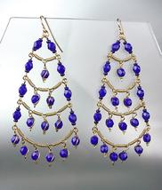 STUNNING Sapphite Blue Crystal Beads Gold Chandelier Dangle Peruvian Ear... - £17.00 GBP