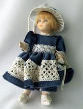 "Porcelain Doll Miniature Blond Girl Victorian Blue Velvet Lace Dress Hat 7"" - $16.80"