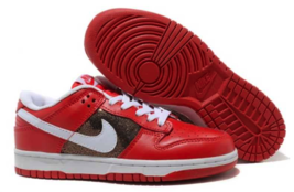 NIB Nike Dunk Low CL Red White Casual Sneakers Leather Women's Shoes 317... - $59.99