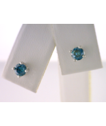 Color Enhanced Blue Diamond Stud Earrings - $480.00