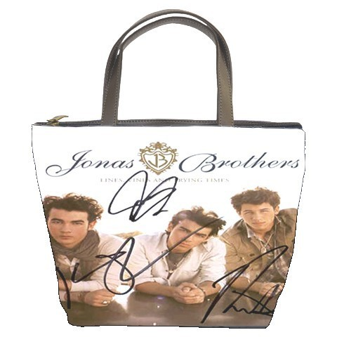 NEW Jonas Brothers Autograph Bucket Bag/Purse(2  Side)