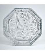Vintage Blenko Extra Large Round Crystal Icicle Design Pressed Glass Ash... - $100.80