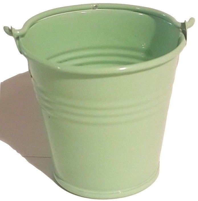 SAGE GREEN Mini Tin Pail Bucket Party Favor (12) - Party Supplies