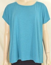 Fresh Produce top OSFM teal cap raglan sleeves rayon blend USA 4 - $19.79