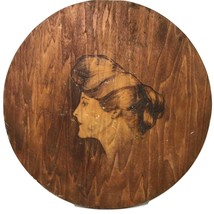 Handcarved Wood Etching Praire Famer Woman Lady Portrait Wall Hanging Pl... - $70.19
