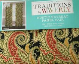 "Waverly Rustic Retreat Crimson Black 2 Window Panels 104x 84"" Curtains P... - $75.12"