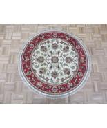 4 X 4 Round Hand Knotted Ivory Red Jaipur Agra Design Oriental Rug G7049 - $197.12