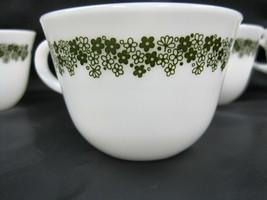 4 Corning Ware Cup Mug Milk Glass Crazy Daisy Spring Blossom Green White Vintage - $34.99