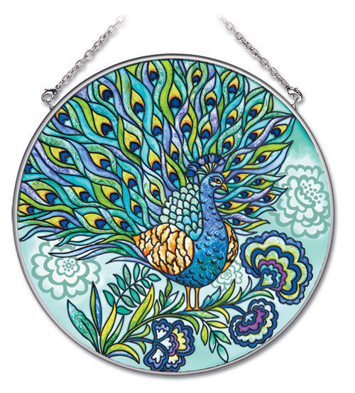 """Peacock Sun Catcher AMIA Blue Feathers Hand Painted 6.5"""" Large Round New"""