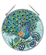 "Peacock Sun Catcher AMIA Blue Feathers Hand Painted 6.5"" Large Round New  - $31.67"