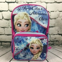School Backpack Lunch Bag Disney Frozen Elsa Keep Calm Adventure On Trav... - $19.79