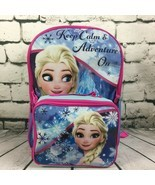 School Backpack Lunch Bag Disney Frozen Elsa Keep Calm Adventure On Travel Tote  - $19.79