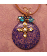 Wire wrapped rock pendant stone with cross charm OOAK - $16.25