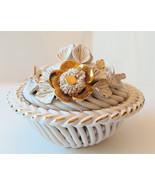 Vintage bowl with flower decorated lid porcelain art - $32.00