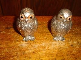 Vintage Owl Salt & Pepper Shaker Set Silvertone Metal - $30.84