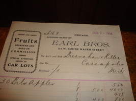 Antique Letterhead Earl Brothers Fruits Sold On Commmission Chicago 1914 - $10.39
