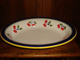 Dansk Oval Serving Dish Bowl Cherries Blue Yellow Green Bands - $26.17