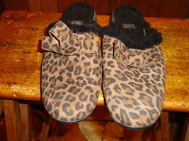 Stuart Weitzman Brown Animal Print Suede Bow Detail Mules Shoes Sz 6 - $32.71