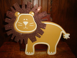 Twelve Timbers Lion Wood Wall Glitter Decor Bab... - $23.36