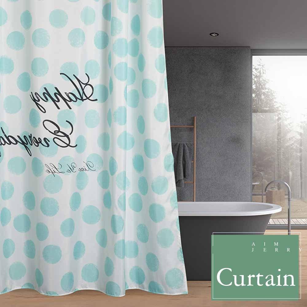 Wer curtain polyester waterproof mildewproof modern bathtub bathroom curtain with 12 hooks 71 71