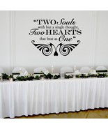 "Two Hearts that Beat as One Wedding Wall Decor Vinyl Sticker Decal 22""h ... - $29.99"