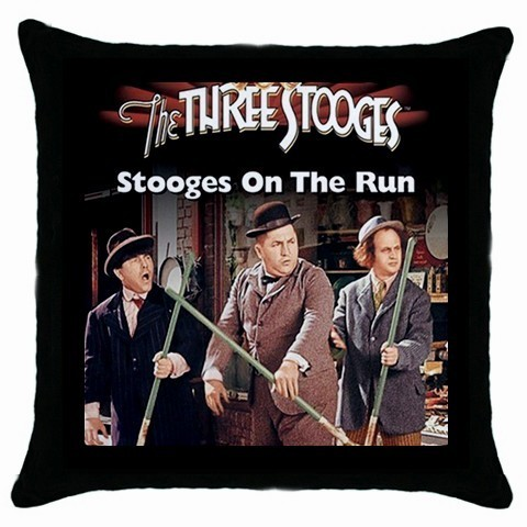 The Three Stooges Black Cushion Cover Throw Pillow case