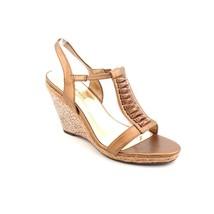 Anne Klein AK Virtruos Womens Bronze Faux Leather Wedges Sandals Shoes 9.5 M - $28.79