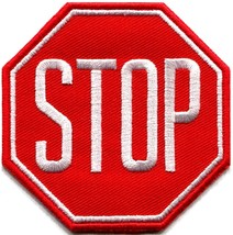 Stop sign signal traffic street road warning applique iron-on patch new ... - $2.95
