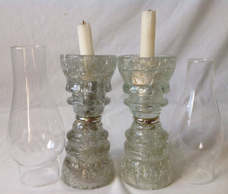 Vintage crackle glass insulator candle holders hemingray for Insulator candle holder
